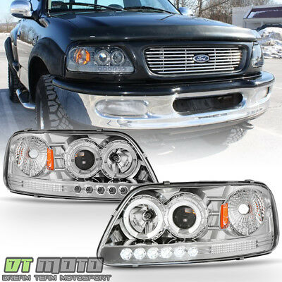 1997 2003 Ford F150 Expedition Led Halo Projector Headlights Lighs