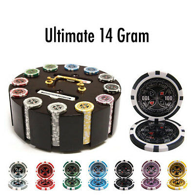 Ultimate 300pc 14 Gram Poker Chip Set w/Wooden Carousel