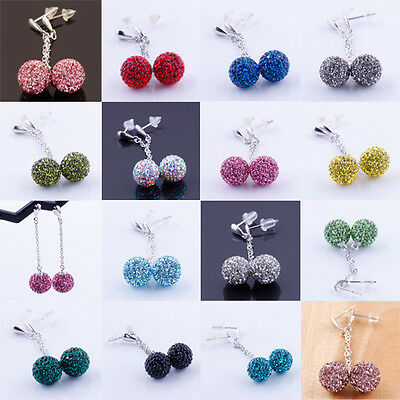 Swarovski Crystal Authentic 925 Sterling Silver Disco Ball Dangle Earrings 10mm
