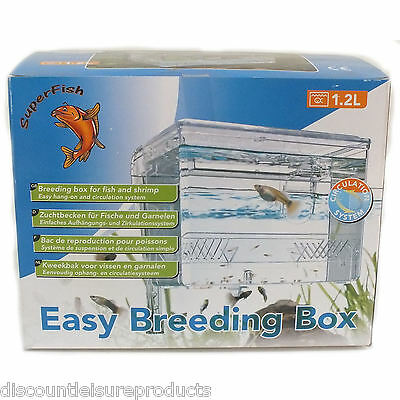 Superfish 1.2L Aquarium Fish Tank Easy Breeding Box Fry Hang On Hatchery Breeder