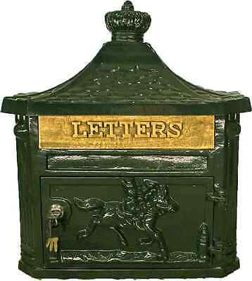 Victorian mail Box/Traditional Post/Letter/Mail Box Wall Aluminium Green Antique