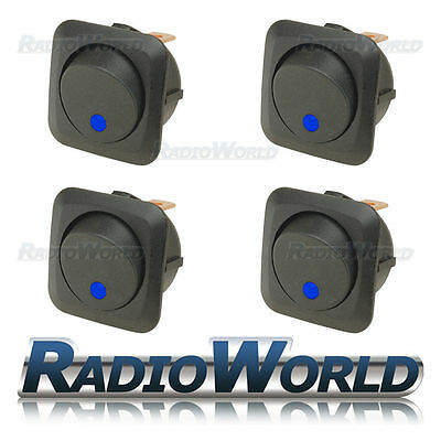 4x Blue LED Illuminated Rocker Switch On/Off 12v 25A Car Van Dash Light