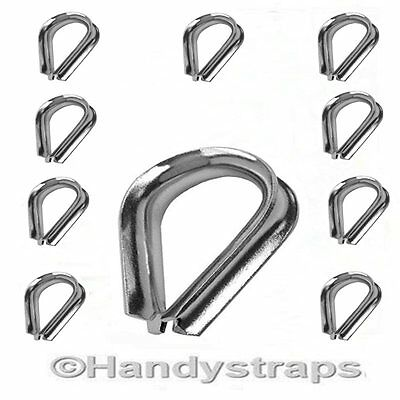 10 x 5mm Wire Rope Thimbles for 5mm wire Stainless Steel Marine Grade
