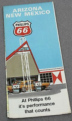 1971 PHILLIPS 66 PERFORMANCE THAT COUNTS GAS STATION ROAD MAP ARIZONA NEW MEXICO