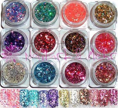 ~~SET~~ 12 Döschen MULTI-GLITZZZER, #MG-182 bis MG-193 HIGH-GLOSS-Flittermix