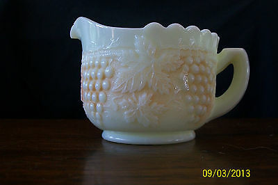 Northwood Glass Grape and Cable Creamer Custard with Nutmeg Stain marked