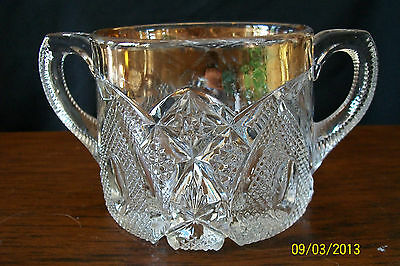 US Glass #15084 New Hampshire Bent Buckle Modiste State Series Sugar Bowl Gold