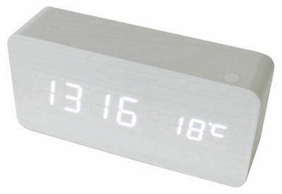 White Led Wood Grain 3 Alarm Clock + Temperature Display Usb/battery White 6035