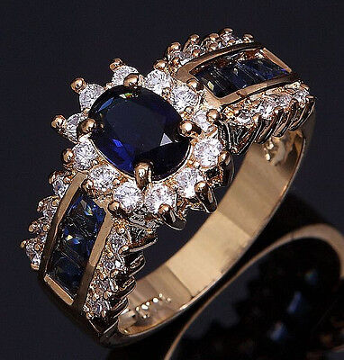 Size 6,7,8,9,10,11,12 Womens Blue Sapphire Cz 18K Gold Filled Wedding Rings