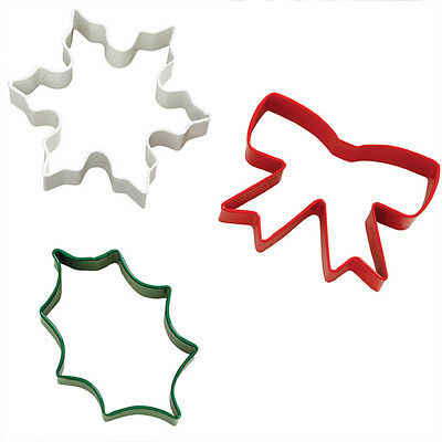 Wilton Christmas Delightfully Decadent 3 pc Cookie Cutter Set Holiday Metal 0131