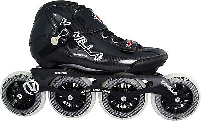Competitive Inline Speed Skates Black Vanilla Carbon 4X100mm Wheels Size 1-13
