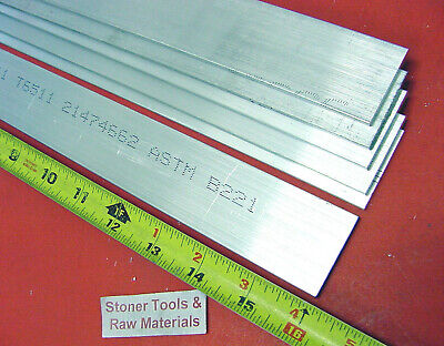 "6 Pieces 1/8"" X 1-1/2"" ALUMINUM 6061 FLAT BAR 16"" long .125"" Plate Mill Stock"