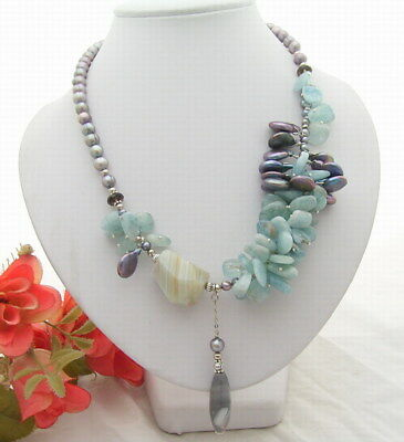 """z4270 5row 20/"""" coffee gray pearl massive tiger/'s-eye turquoise NECKLACE"""