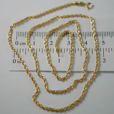 18K Yellow Gold Chain Necklace, Braid Rope 23.62 Inch Long, Made In Italy