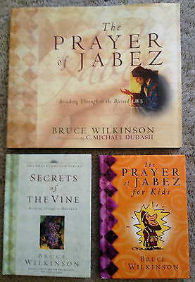 Lot 3 Bruce Wilkinson books: Prayer of Jabez/Secrets of the Vine/Jabez for Kids