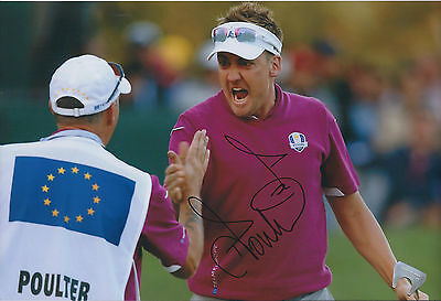 Ian POULTER In Person SIGNED Autograph 12x8 Photo AFTAL COA Ryder Cup with CADDY