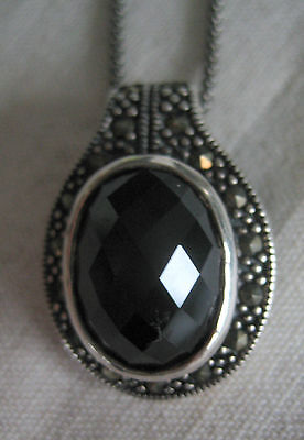 Estate Vintage Bold Sterling Silver Pendant Oval Cut Onyx Marcasite Chain