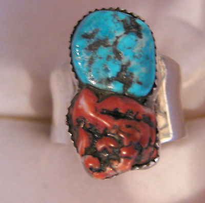 Bold Sterling Silver Turquoise Coral Ring Size 9 Hand Made Tribal Cat Rabbit