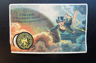 Willimantic Thread Flying Naked Baby In Top Hat & Tux Victorian Trade Card 1881