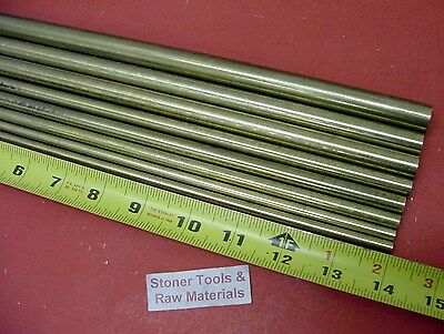 "1/4"" To 5/8"" C360 BRASS ROUND 8 Pc ASSORTMENT SOLID ROD 14"" long Bar Stock #4.71"