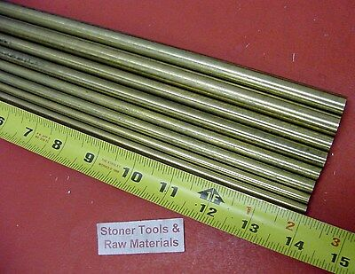 "1/4"" To 1/2"" C360 BRASS ROUND 8 Pc ASSORTMENT SOLID ROD 14"" long Bar Stock #3.72"