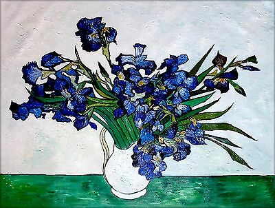 Van Gogh Vase of Irises Repro, Quality Hand Painted Oil Painting 36x48in