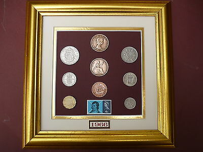 FRAMED 1966 OLD BRITISH COINAGE SET WITH BURNS STAMP 51st BIRTHDAY GIFT IN 2017
