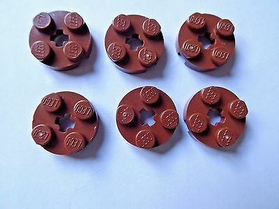 LEGO  2 x 2  BROWN ROUND PLATE WITH AXLE HOLE x 6 PART 4032 SHADES VARY