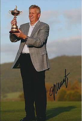 Colin MONTGOMERIE SIGNED Autograph 12x8 Photo AFTAL COA GOLF Lifts Ryder CUP
