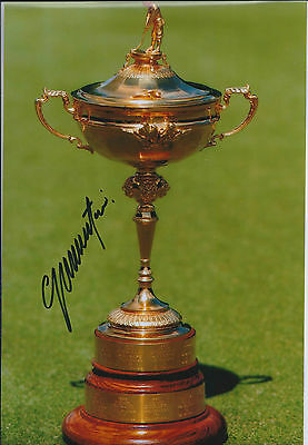 Colin MONTGOMERIE SIGNED Autograph 12x8 RYDER CUP Trophy Photo AFTAL COA GOLF