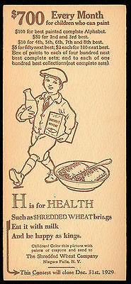 H = HEALTH 1929 Shredded Wheat CEREAL PREMIUM CARD Painted Alphabet Contest BOX