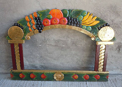 Carved Wood Mirror/Picture Frame w/ Arch Top & Colorfully Painted Fruit