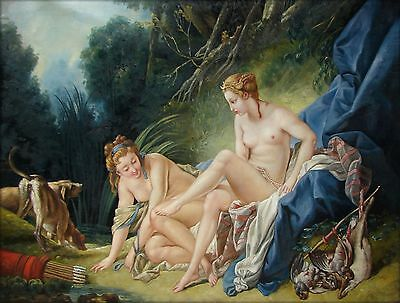 Francois Boucher Diana Bathing Repro Quality Hand Painted Oil Painting 30x40in