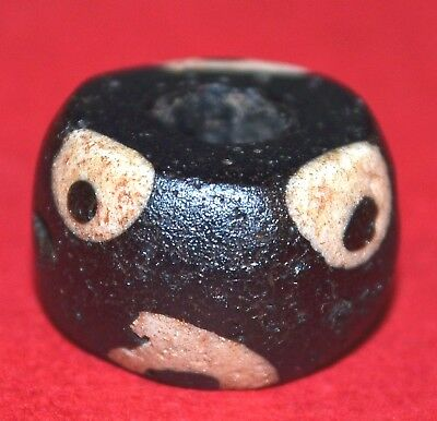 Ancient Black Mandrel Wound Islamic Glass Bead White Eyes Mali, African Trade