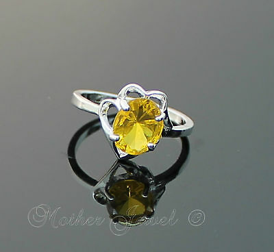 Pretty Citrine Yellow Cz Womens Girls Sterling Silver Plated Ring Size 9 R