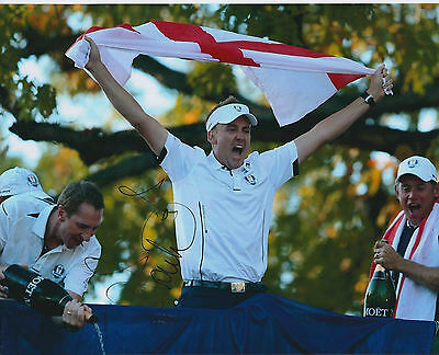 Ian POULTER SIGNED Autograph 10x8 Photo AFTAL COA Ryder Cup St George FLAG GOLF