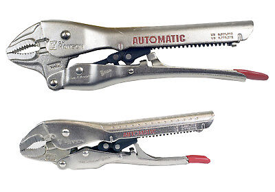 "CH Hanson 80200 2 pc. Automatic Locking Pliers - 10"" Curved, 6"" Curved"