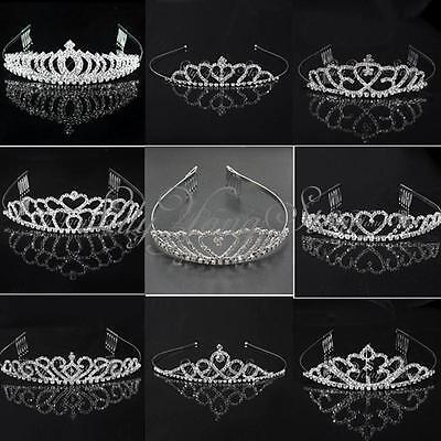 Wedding Bridal Bridesmaid Prom Pregnant Clear Crystal Rhinestone Tiara Silver
