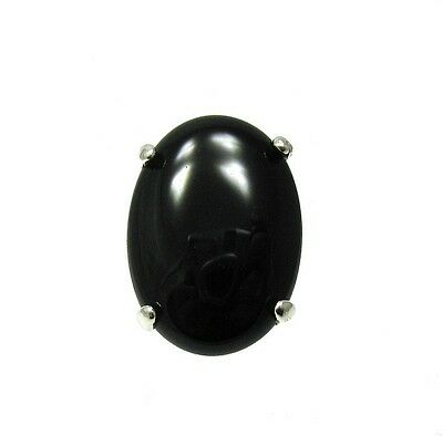 STERLING SILVER RING SOLID 925 25X18mm NATURAL BLACK ONYX SIZE 3.5 - 13 R001355