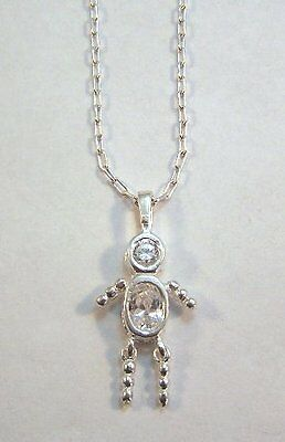 APRIL  Sterling Silver Birthstone Boy Charm on a Silver Plated Link Necklace