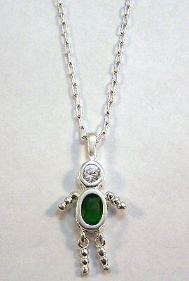 MAY Sterling Silver Birthstone Boy Charm on a Silver Plated Link Necklace