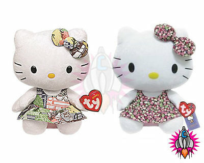 "New Official Ty Beanie Babies 6"" Hello Kitty Liberty Capital Plush Toy With Tags"