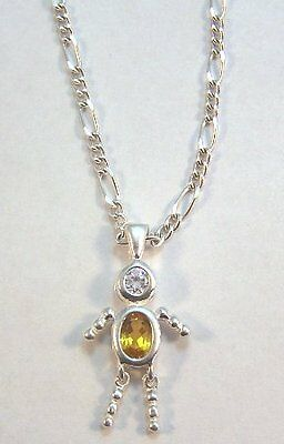 NOVEMBER Sterling Silver Birthstone Boy Charm on a Silver Plated Figaro Necklace