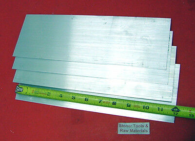 "4 Pieces 1/8"" X 4"" ALUMINUM FLAT BAR 12"" long 6061 T6511 .125"" New Mill Stock"