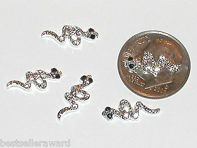 5pc Miniature dollhouse tiny crystal Snakes beads flat backs findings 5x15mm