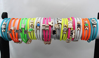 Lots 36pc Mixed style Leather Colorful Mix Pendent 3pcs in 1 Trendy Bracelets