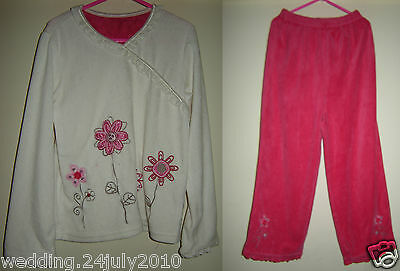 ✿ M&S GIRLS PINK WHITE RED VELOUR JUMPER TROUSER EMBOIDERED SEQUIN FLOWERS 6-7yr