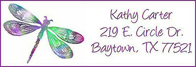 DRAGONFLY IN MANY COLORS - Return  Address Labels! Cute!
