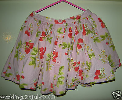 ✿ NEXT GIRLS PINK FLORAL PRINT SUMMER PARTY 100% COTTON ELASTIC LINED SKIRT 8yr