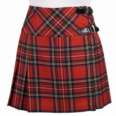New Ladies Royal Stewart Tartan Scottish Mini Billie Kilt Mod Skirt Sizes 6-18UK